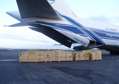 air freight near plane